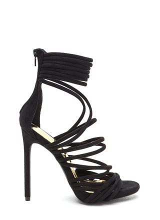 Elevated Life Caged Faux Suede Heels