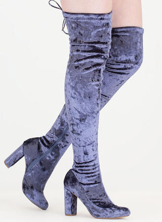 Chic Vibe Chunky Velvet Thigh-High Boots