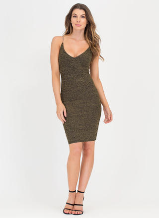 Shiny Celebration Ribbed Midi Dress