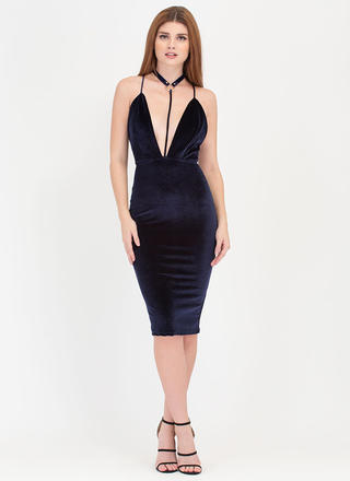 To A T-Strap Velvet Choker Midi Dress