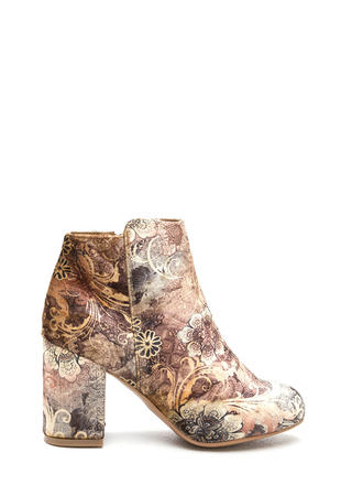 Floral History Chunky Velvet Booties