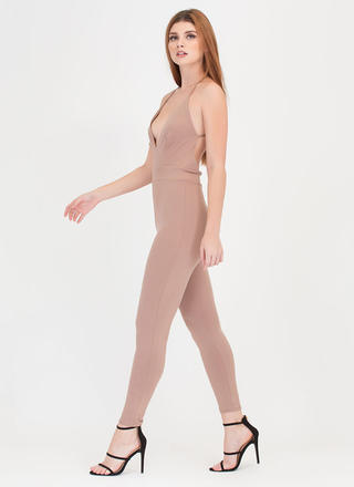 Cross Reference Plunging Jumpsuit