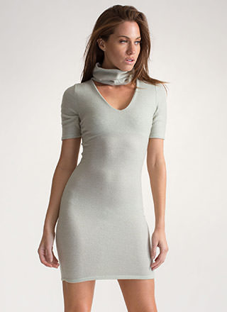 Fuzzy Feels Turtleneck Sweater Dress