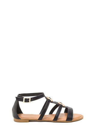 Medal Winner Caged Faux Leather Sandals