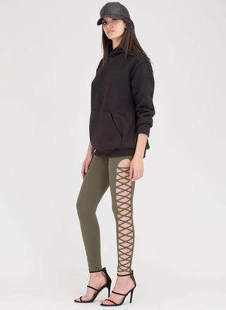 Crisscross Over Cut-Out Caged Pants