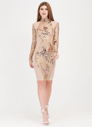 Sheer Curves Sequined Mesh Dress