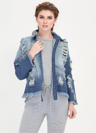Street Style Shred Denim Jacket