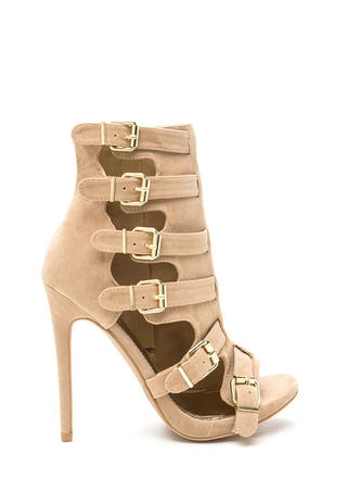 Oh Strappy Day Buckled Caged Heels