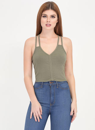 Strappy Dance Caged Back Cropped Tank