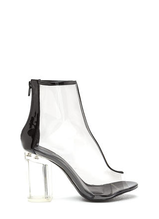 Clear Goal Chunky Peep-Toe Booties