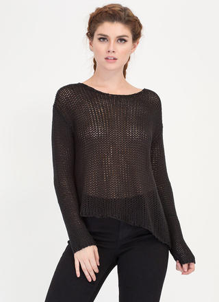 On A Diagonal Hem Knit Sweater