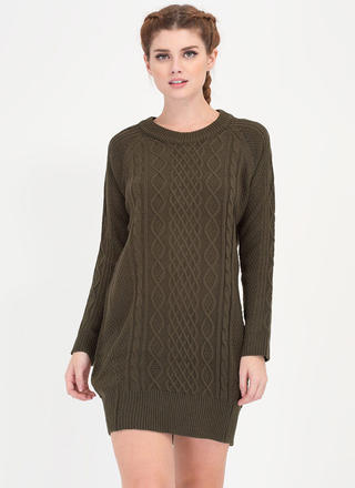 Warmest Regards Cable Knit Sweater Dress