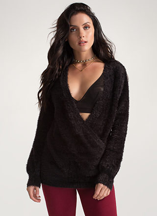 Warm Fuzzies Oversized Surplice Sweater