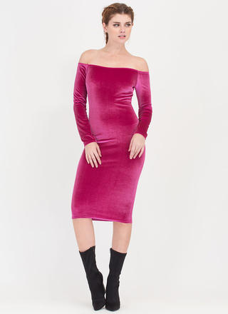 Plush It Velvet Off-Shoulder Midi Dress