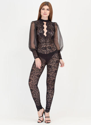Sheer We Go Plunging Lace Jumpsuit