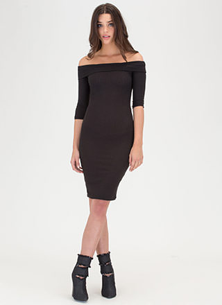 Lookin' Chic Ribbed Off-Shoulder Dress