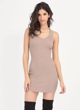 Tie Game Ribbed Lace Back Dress