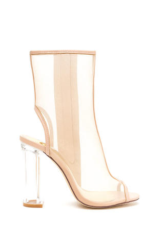 Mesh With Me Clear Chunky Booties