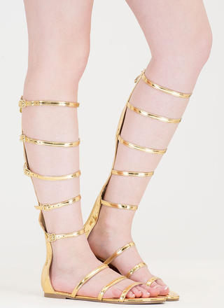 Strap In Metallic Gladiator Sandals
