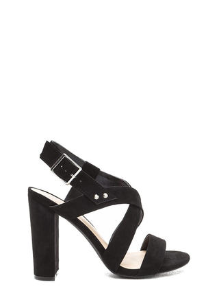 So Strappy Crisscrossed Chunky Heels