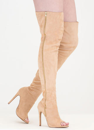 Catwalk Strut Thigh-High Peep-Toe Boots