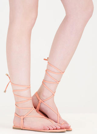 Chic Vacay Faux Nubuck Lace-Up Sandals