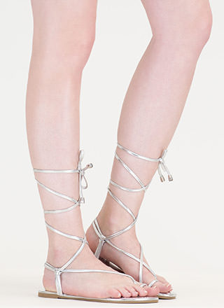 Chic Vacay Metallic Lace-Up Sandals