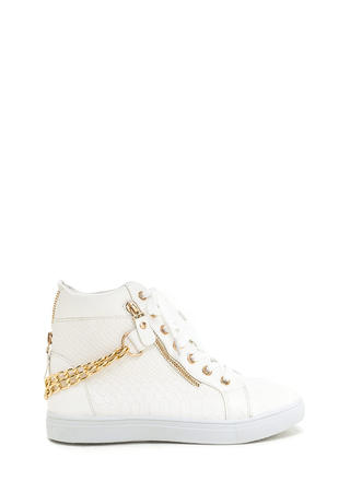 Scale Up Double Chain High-Top Sneakers