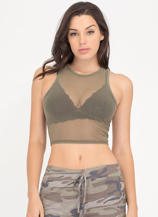 Sheer Brilliance Cropped Mesh Tank