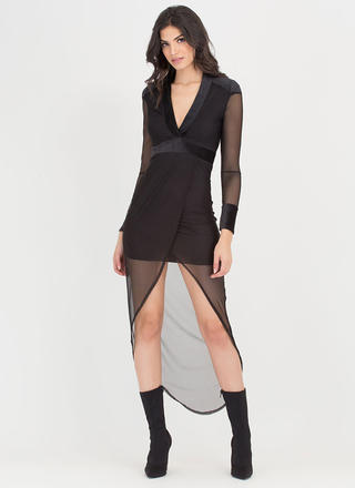 Drape Shifter Sheer Surplice Midi Dress