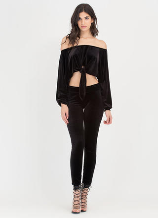 Knot So Fast Velvet Top 'N Pants Set