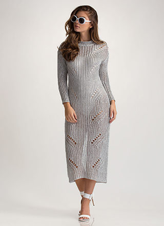 Glitz It Metallic Sweater Dress