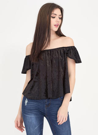 Flutter Crushed Velvet Off-Shoulder Top