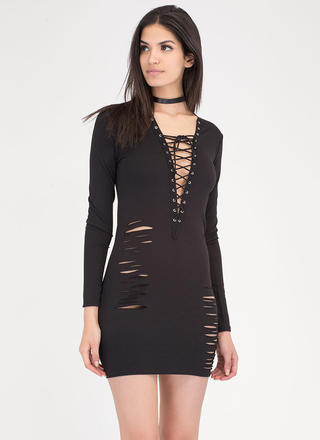 Deep Thought Distressed Lace-Up Dress