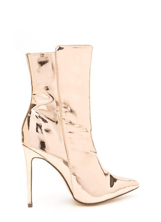 Hot Glam Pointy Metallic Booties