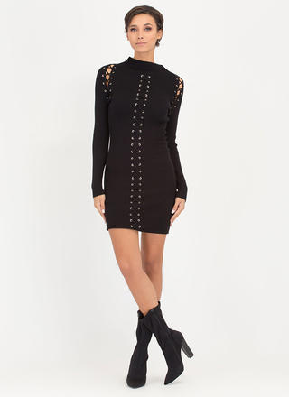 High Roller Lace-Up Ribbed Minidress