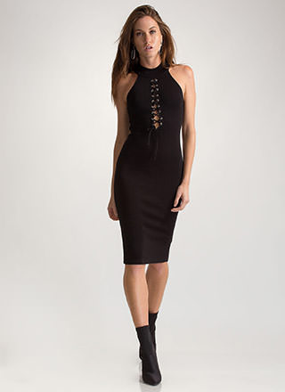 Just A Hint Lace-Up Bodycon Dress
