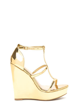 Feeling Centered Shiny Caged Wedges