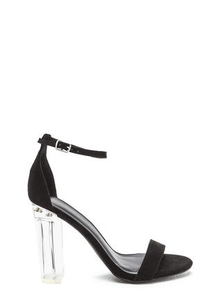 You're In The Clear Chunky Lucite Heels