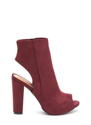 You're Cut Faux Suede Chunky Heels