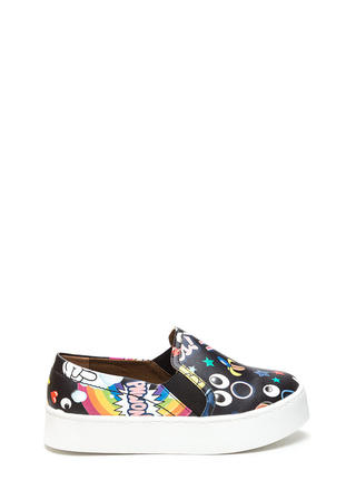 Cartoon Lover Printed Platform Sneakers