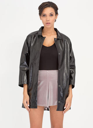 Weather It All Faux Patent Jacket
