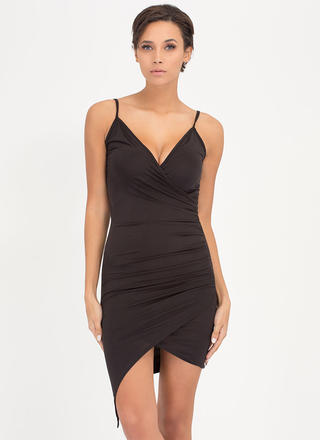 Call It A Night Ruched Wrap Dress