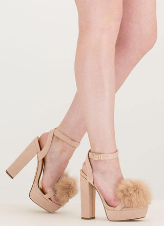 Fur Sure Strappy Pom-Pom Platforms