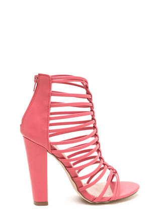 Bold Pose Chunky Braided Caged Heels