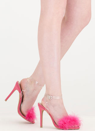 Feather Weather Strappy Stiletto Heels