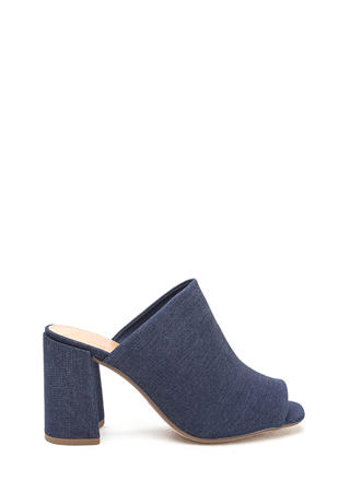 Flare Game Denim Peep-Toe Mules