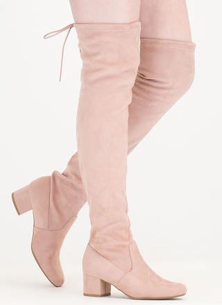 Block Out Tied Thigh-High Boots
