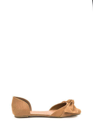 Knot Bow Fast Pointy Faux Suede Flats