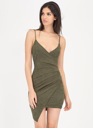 Side To Side Faux Suede Wrap Minidress